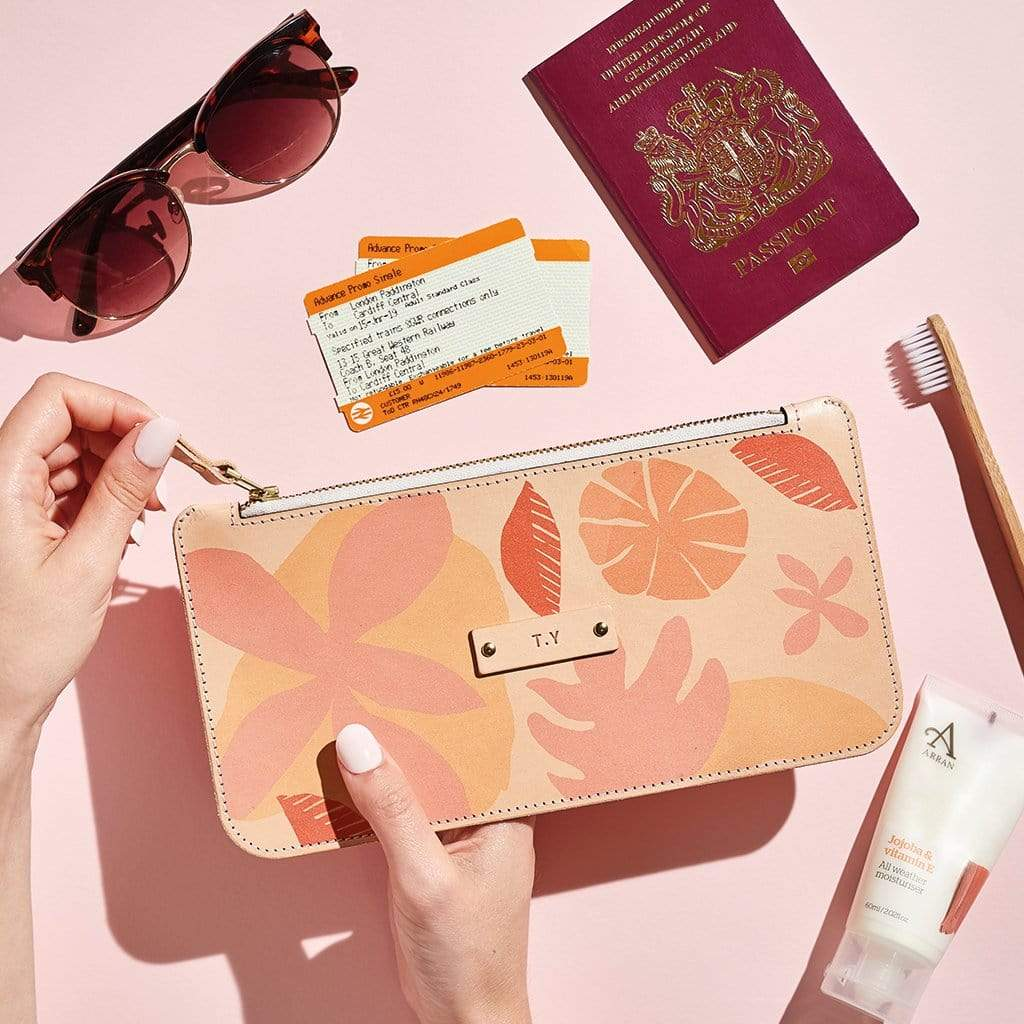 Personalised Tropical Print Leather Zipped Pouch - Florence - Sbri