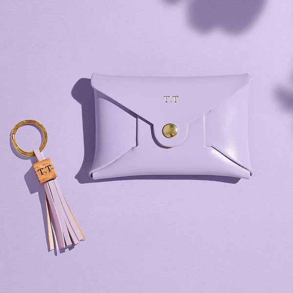 Personalised Lilac Leather Coin Purse Keyring Set - Iris - Sbri