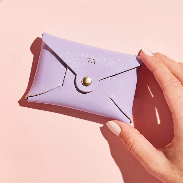 Personalised Lilac Leather Coin Purse - Iris - Sbri