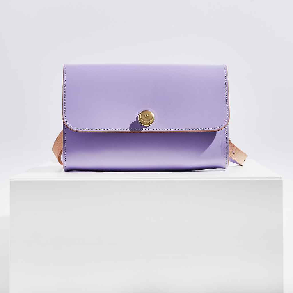 Personalised Lilac Leather Cross Body Bag- Iris - Sbri