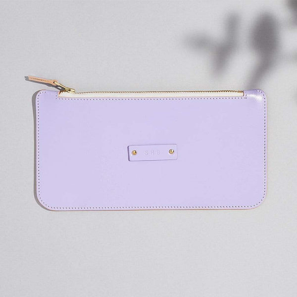 Personalised Lilac Leather Zipped Pouch - Iris - Sbri
