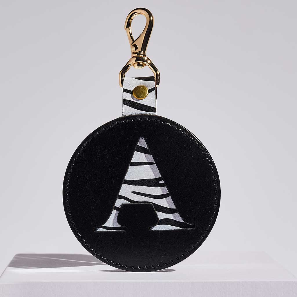 Leather Letter Keyring in Black + Zebra