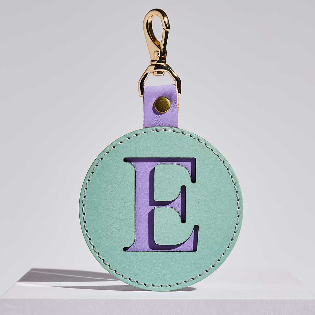 Leather Letter Keyring in Mint + Lilac | Sbri
