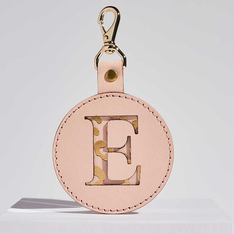 Leather Letter Keyring in Pink + Gold | Sbri