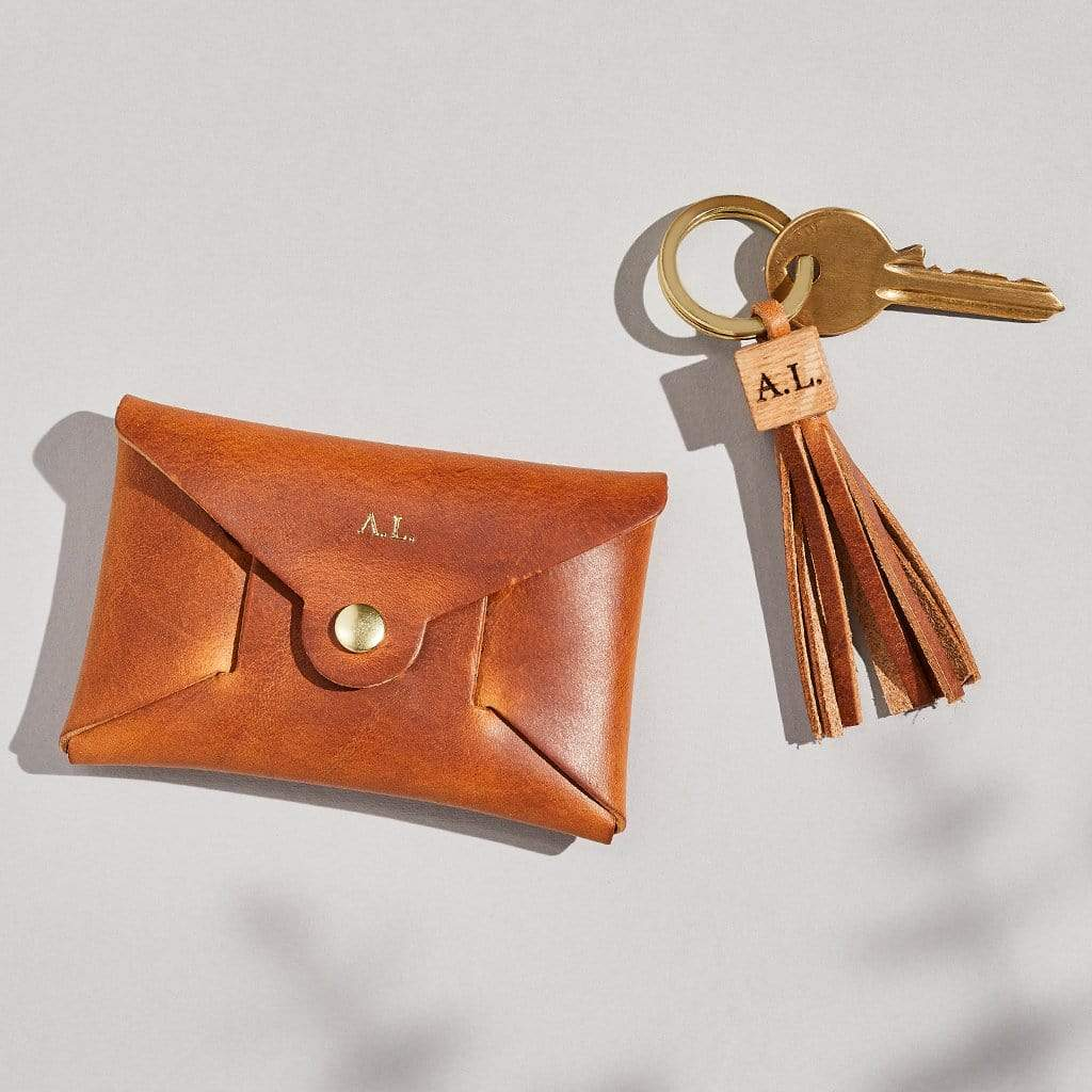 Personalised Tan Brown Leather Coin Purse Keyring Set - Penny - Sbri