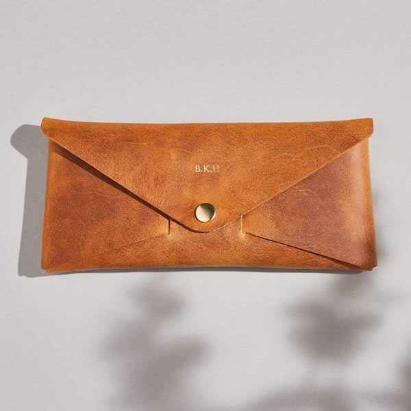 Personalised Tan Brown Leather Envelope Purse - Penny - Sbri