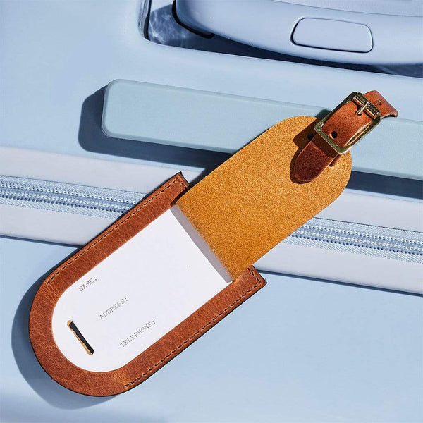 Personalised Tan Brown Leather Luggage Tag - Penny - Sbri