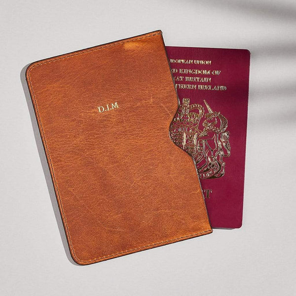 Personalised Tan Brown Leather Passport Holder - Penny - Sbri