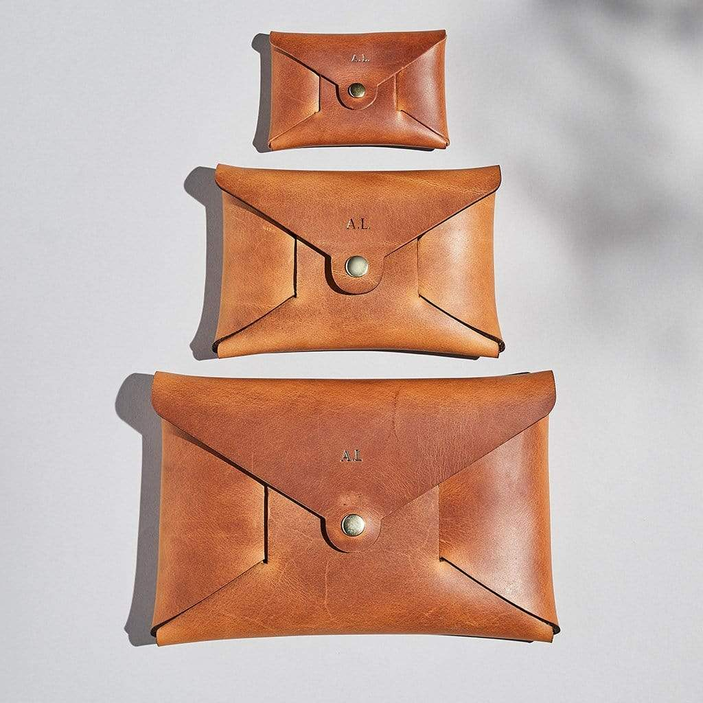 Personalised Tan Brown Leather Origami Pouch Set - Penny - Sbri