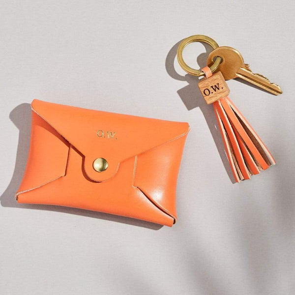 Personalised Orange Leather Coin Purse Keyring Set - Piper - Sbri