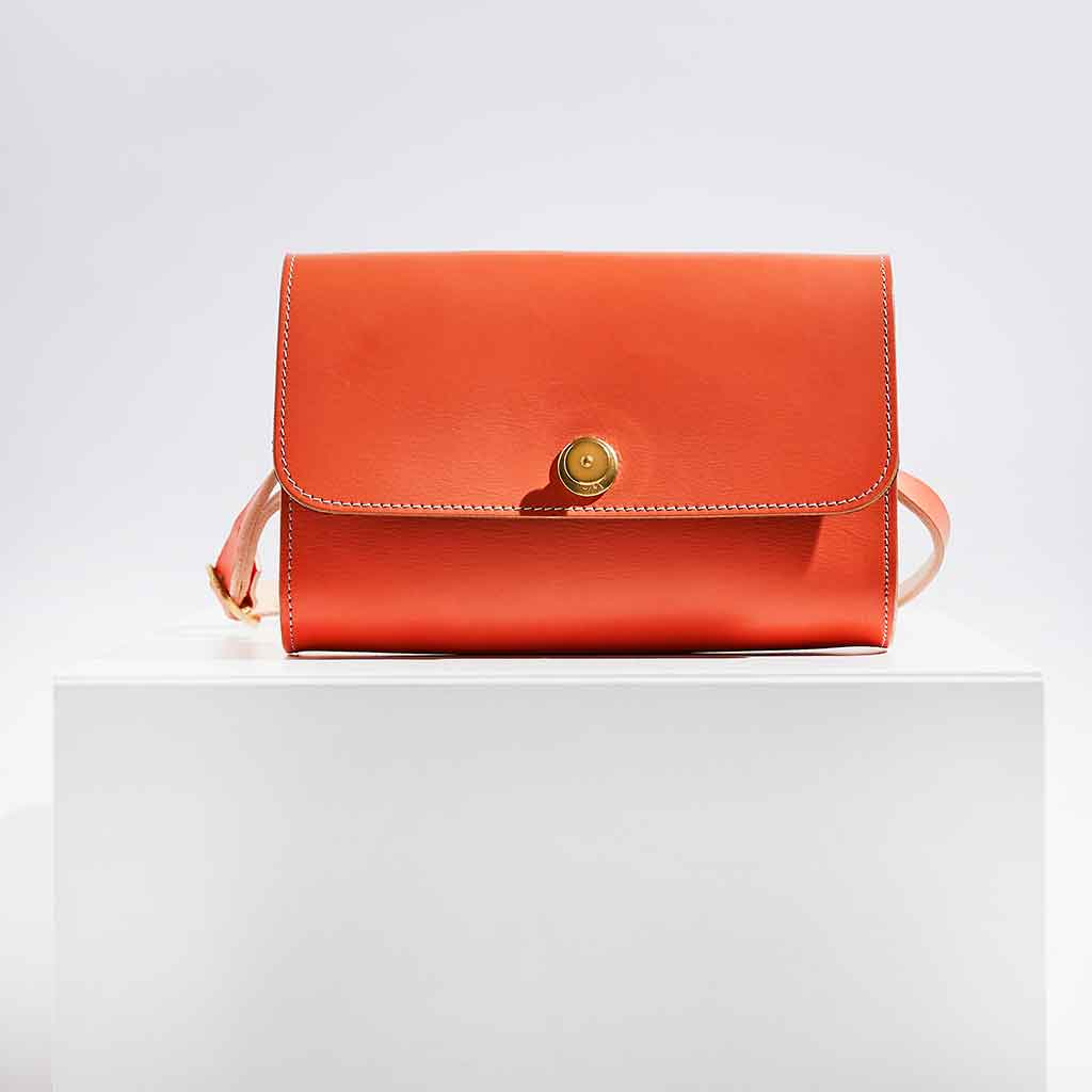 Personalised Orange Leather Cross Body Bag- Piper - Sbri