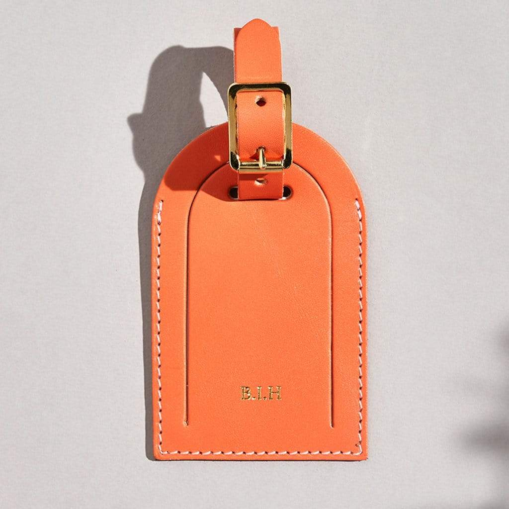Personalised Orange Leather Luggage Tag - Piper - Sbri