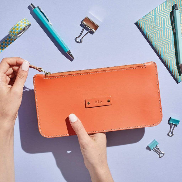 Personalised Orange Leather Zipped Pouch - Piper - Sbri