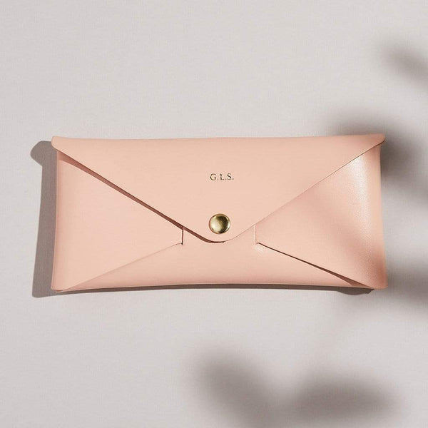 Personalised Blush Pink Leather Envelope Purse - Rosa - Sbri