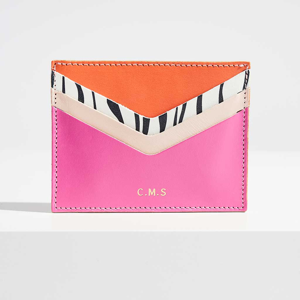 Personalised Pink Leather Card Holder - Wild Thing - Sbri