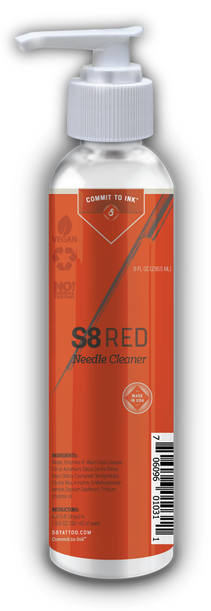 S8 RED Needle Cleaner 紋身針專用清潔劑 - 8oz. Bottle