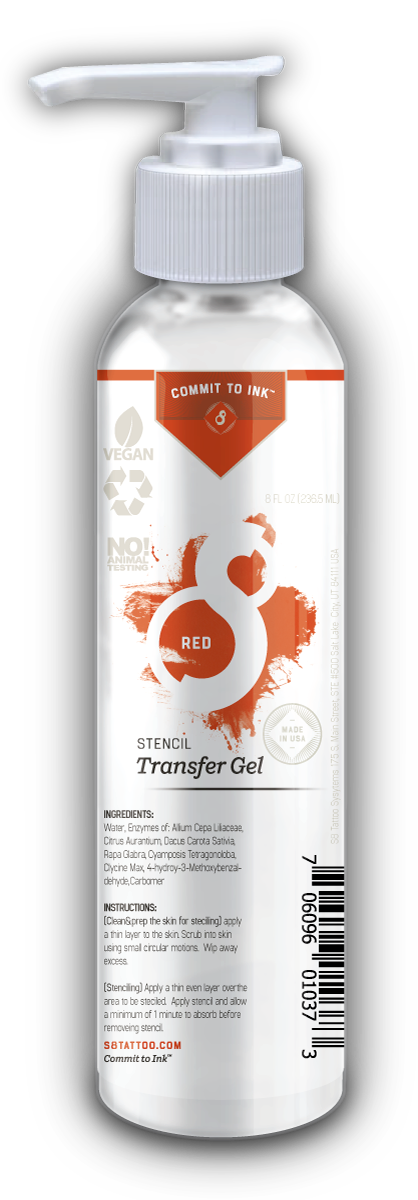 S8 Tattoo RED Stencil Transfer Solution 2 in 1 Formulation 二合一轉印膏 - 8oz. Bottle