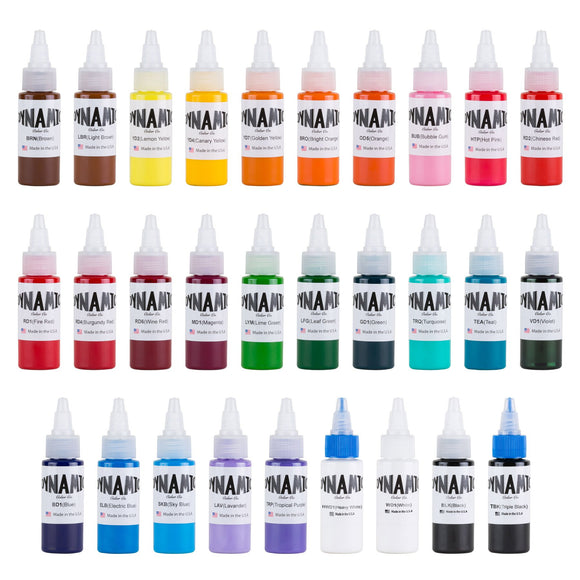 Dynamic Master Collection Tattoo Ink Color Set - 1 oz. Bottles (Full Set of 29)