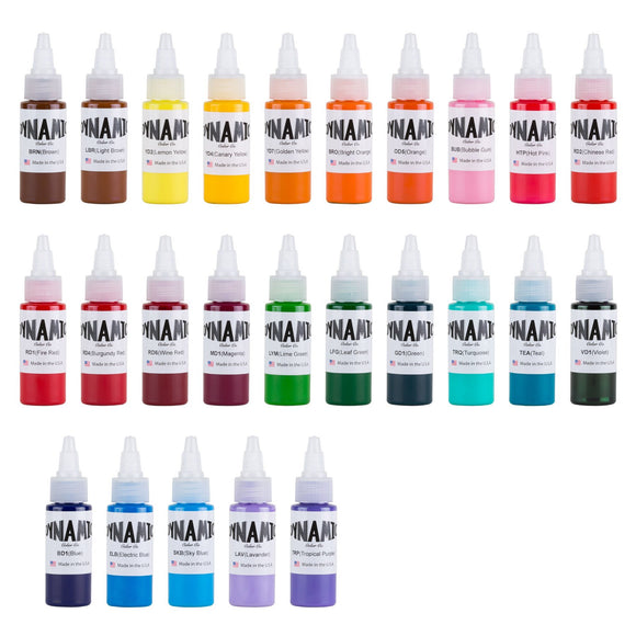 Dynamic Master Collection Tattoo Ink Color Set 墨水套裝 - 1 oz. Bottles (Set of 25)