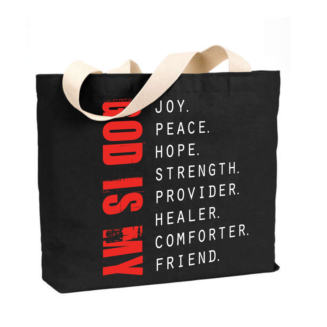 God is My - Medium Reusable Canvas Tote
