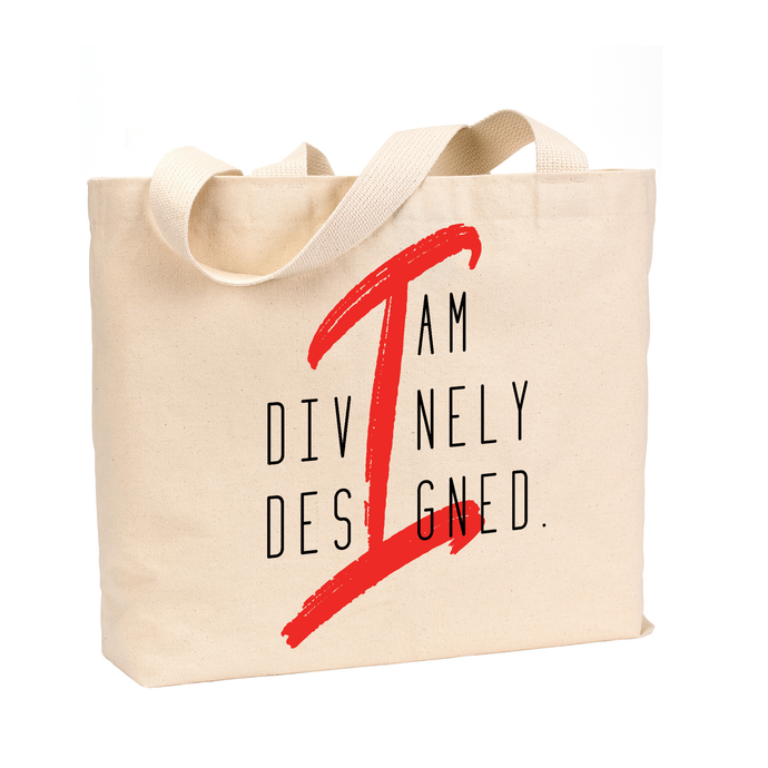 I Am Divinely Designed - Medium Reusable Canvas Tote