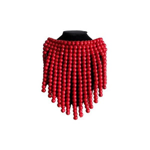 Ahwenne, red beaded necklace