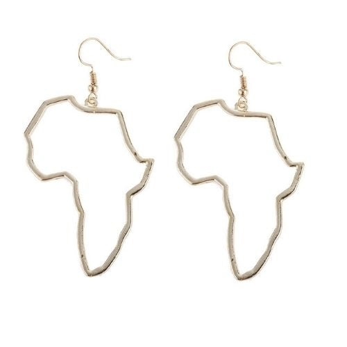 Africa Map drop earrings (gold and silver)