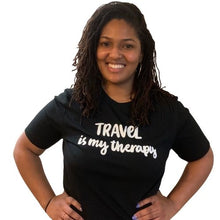 Load image into Gallery viewer, Travel is my Therapy tshirt, black