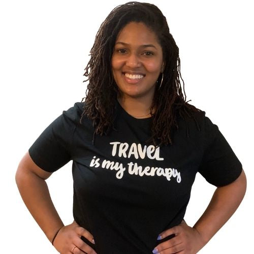 Travel is my Therapy tshirt, black