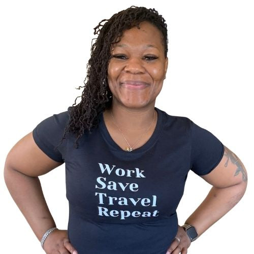 Work Save Travel Repeat tshirt, black