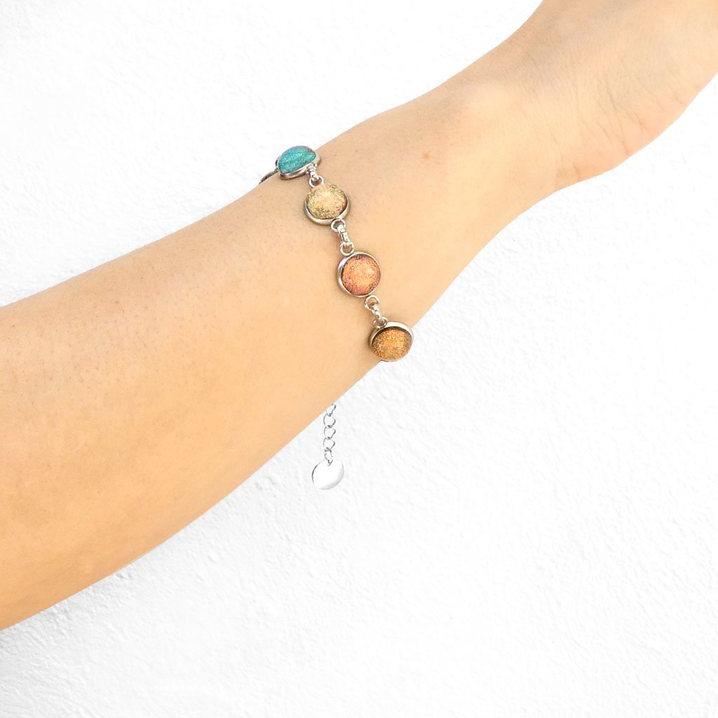 Microcosmoses BRACELET GLASS REFLET BRACELET COPPER ~ GREEN BOKEH | REFLET | ADJUSTABLE STEEL