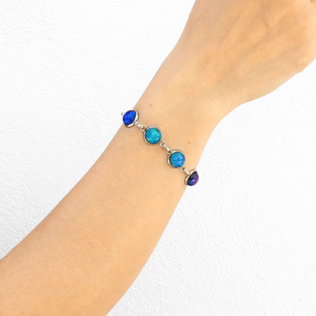 Microcosmoses BRACELET GLASS REFLET BRACELET EMERAUDE ~ IRIS BLUE | REFLET | ADJUSTABLE STEEL