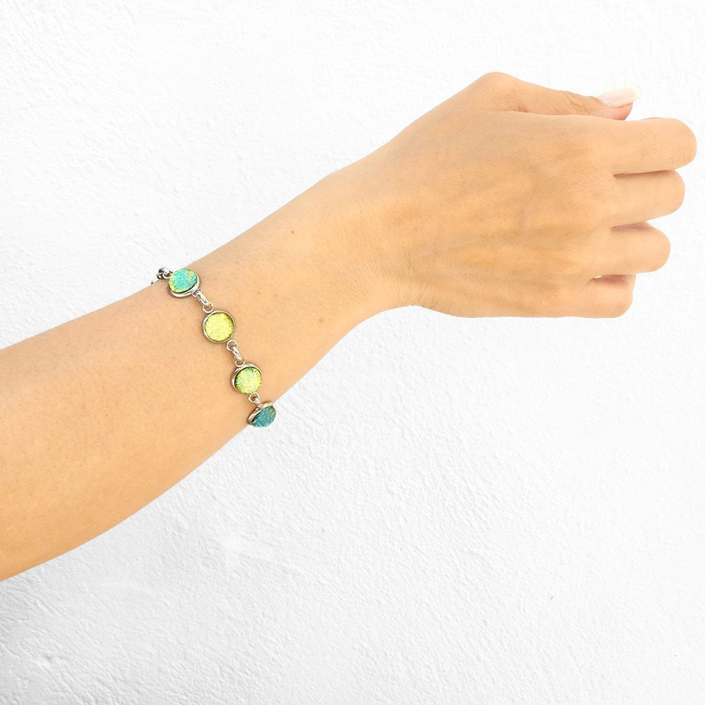 Microcosmoses BRACELET GLASS REFLET BRACELET GOLD ~ GREEN BOKEH | REFLET | ADJUSTABLE STEEL
