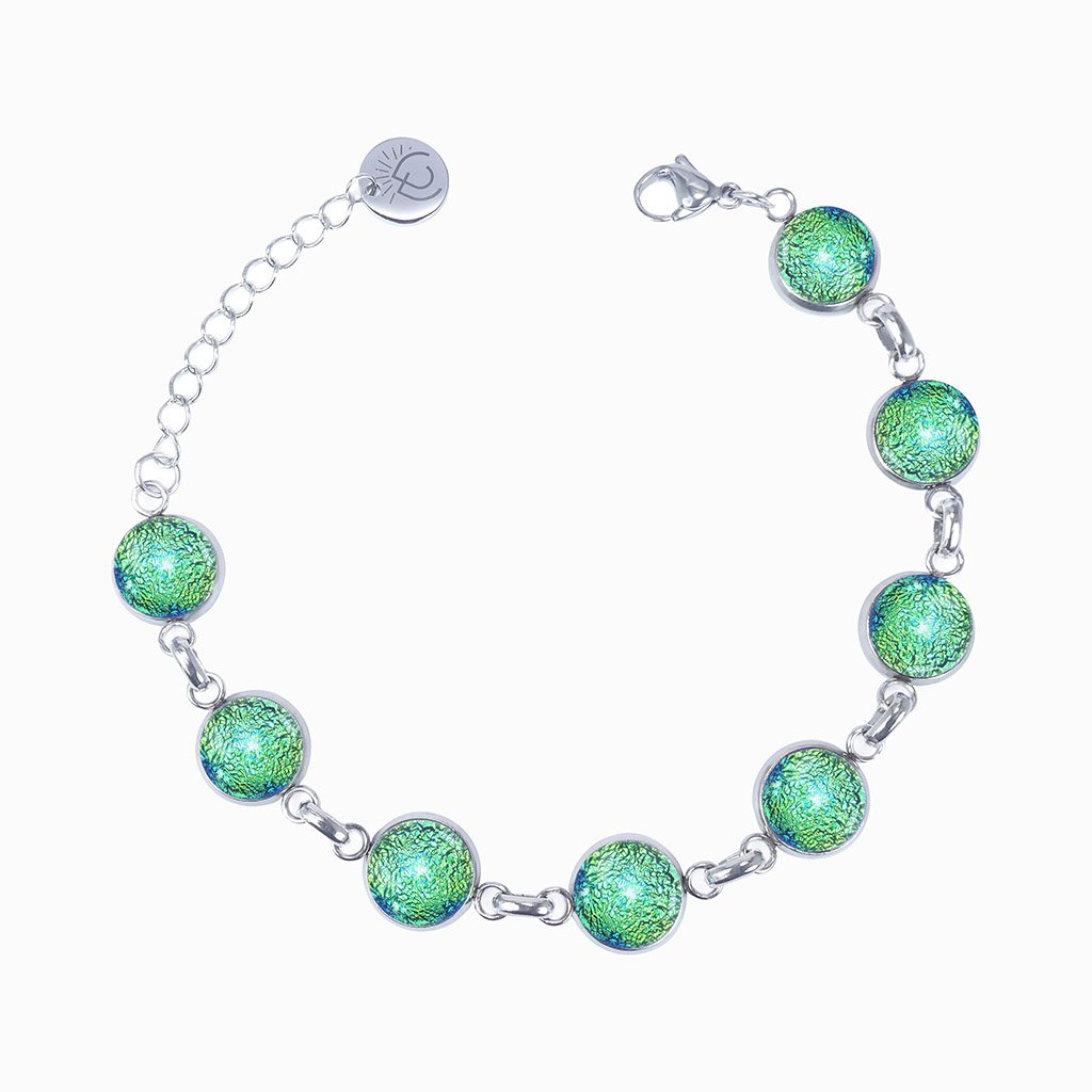 Microcosmoses BRACELET GLASS REFLET BRACELET GREEN KELLY ~ BLUE BELIZE BRACELET | REFLET | ADJUSTABLE STEEL