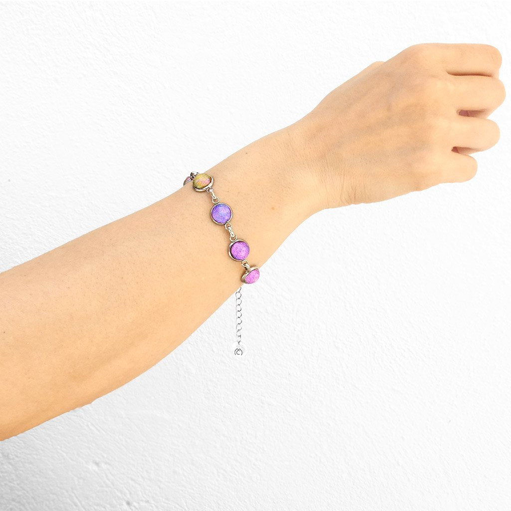 Microcosmoses BRACELET GLASS REFLET BRACELET INDIGO ~ ETERNAL FUSHIA | REFLET | ADJUSTABLE STEEL