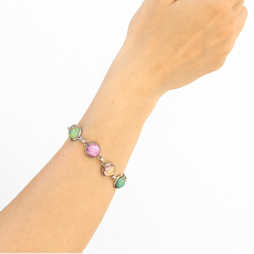 Microcosmoses BRACELET GLASS REFLET BRACELET PARME ~ LIGHT GREEN | REFLET | ADJUSTABLE STEEL