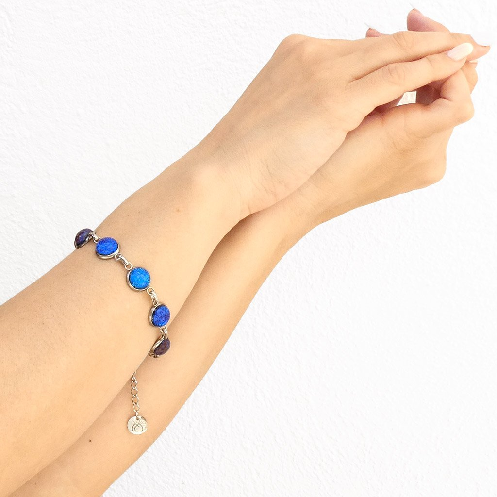 Microcosmoses BRACELET GLASS REFLET BRACELET STARRY BLUE ~ INDIGO | REFLET | ADJUSTABLE STEEL