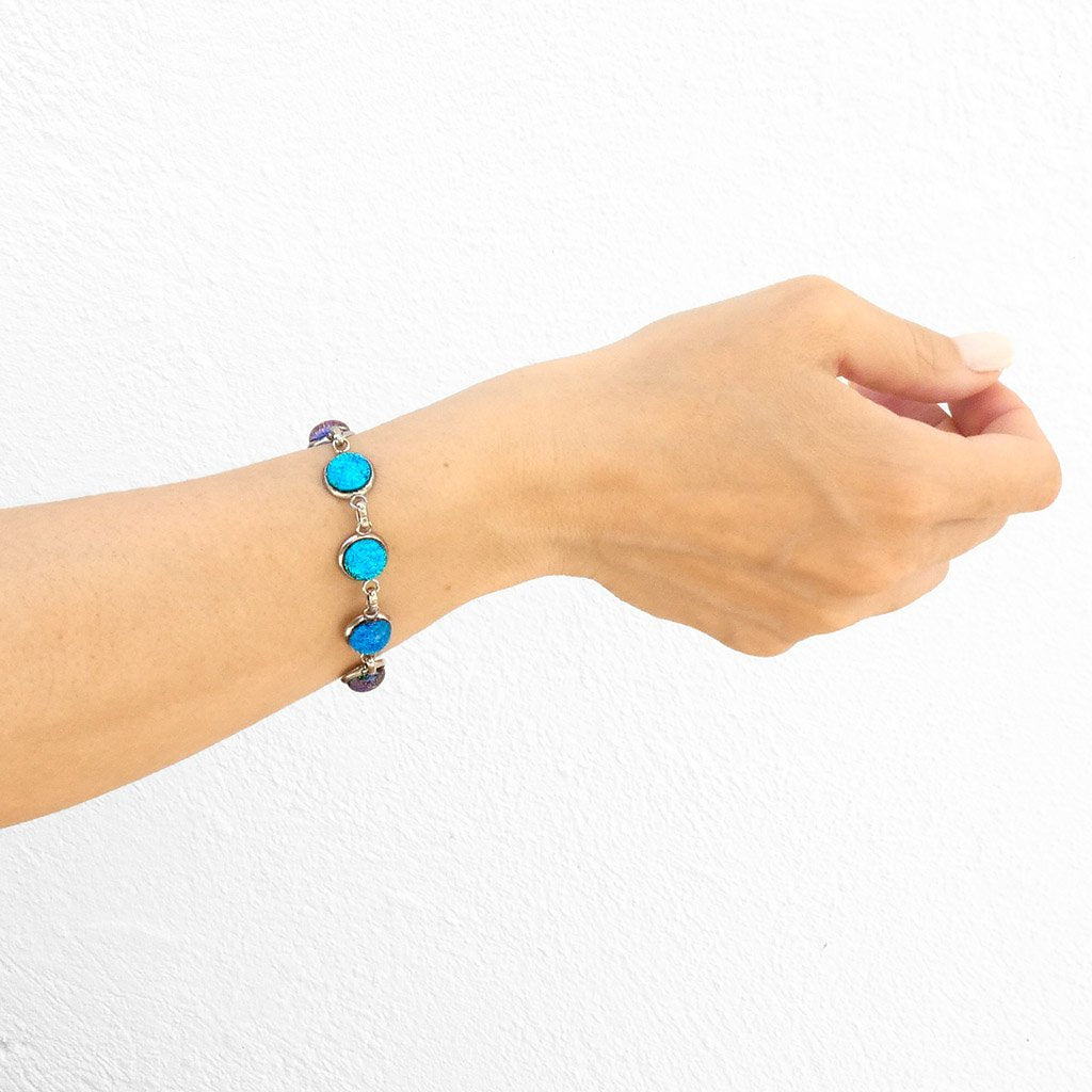 Microcosmoses BRACELET GLASS REFLET BRACELET TURQUOISE ~ NIGHT BLUE | REFLET | ADJUSTABLE STEEL