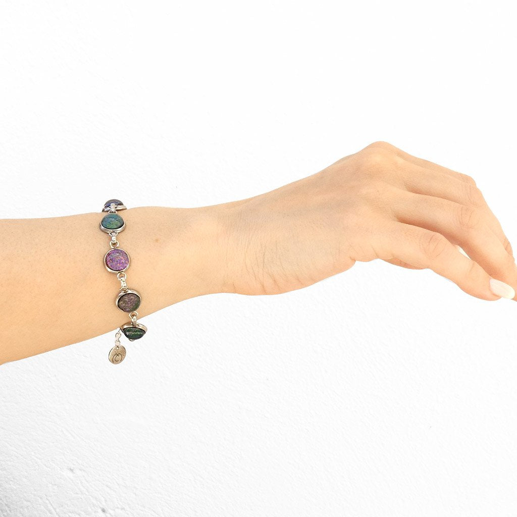 Microcosmoses BRACELET GLASS REFLET BRACELET VIOLET ~ EMERALD | REFLET | ADJUSTABLE STEEL