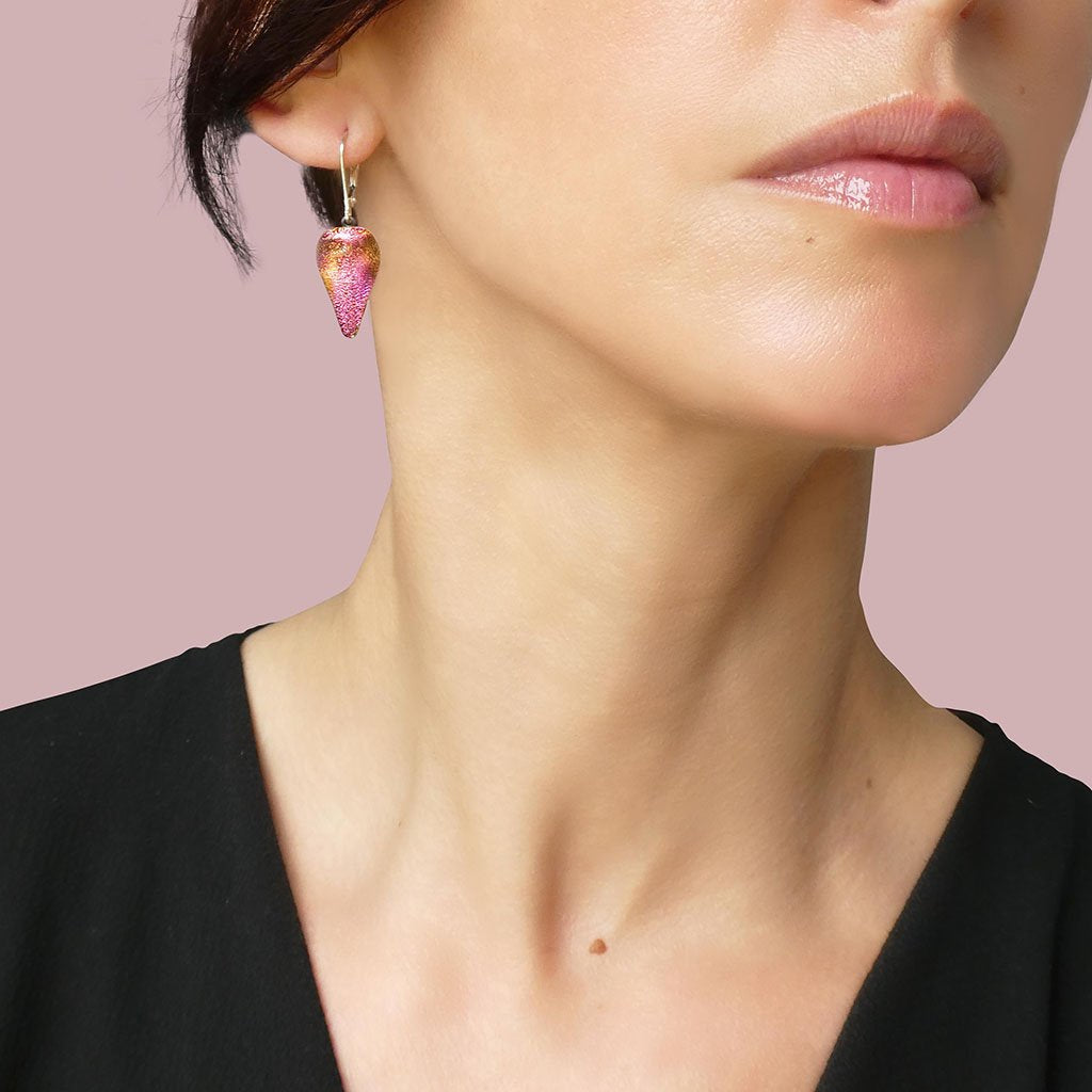 Microcosmoses EARRINGS DROP GLASS REFLET EARRINGS FRENCH PINK ~ GOLD | DROP | SILVER 925 | REFLET