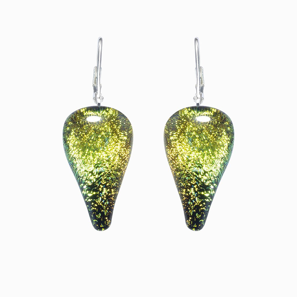 Microcosmoses EARRINGS DROP GLASS REFLET EARRINGS GOLD ~ GREEN BOKEH | DROP | SILVER 925 | REFLET