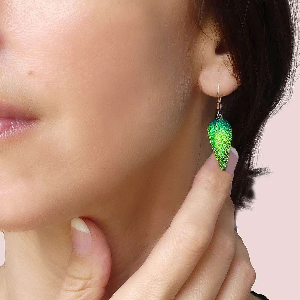 Microcosmoses EARRINGS DROP GLASS REFLET EARRINGS GREEN KELLY ~ BLUE BELIZE | DROP | SILVER 925 | REFLET