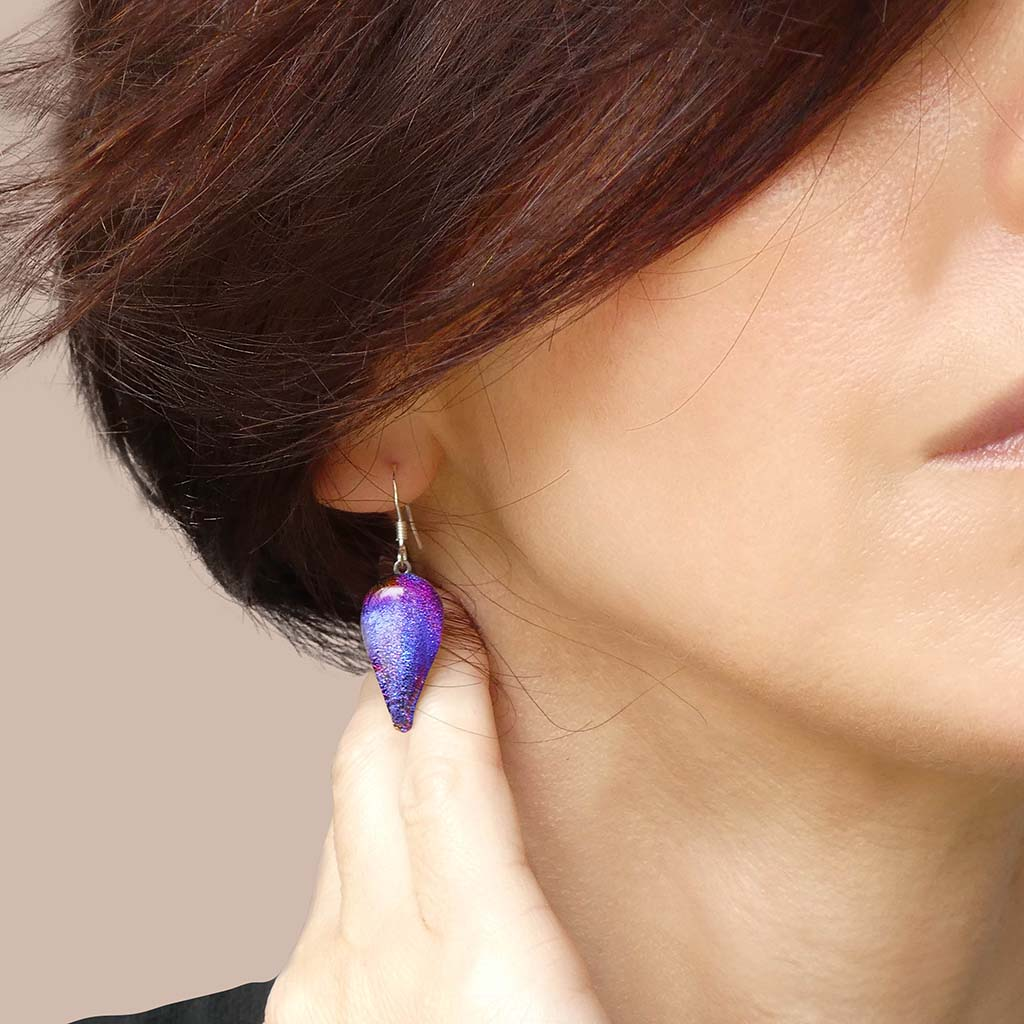 Microcosmoses EARRINGS DROP GLASS REFLET EARRINGS INDIGO ~ ETERNAL FUSHIA | DROP | SILVER 925 | REFLET