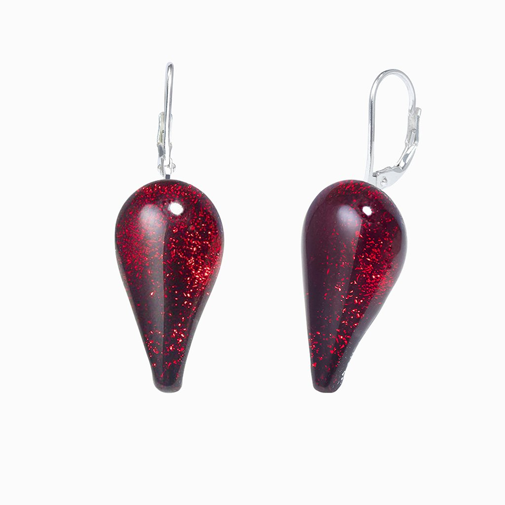 Microcosmoses EARRINGS DROP GLASS REFLET EARRINGS RED | DROP | SILVER 925 | REFLET
