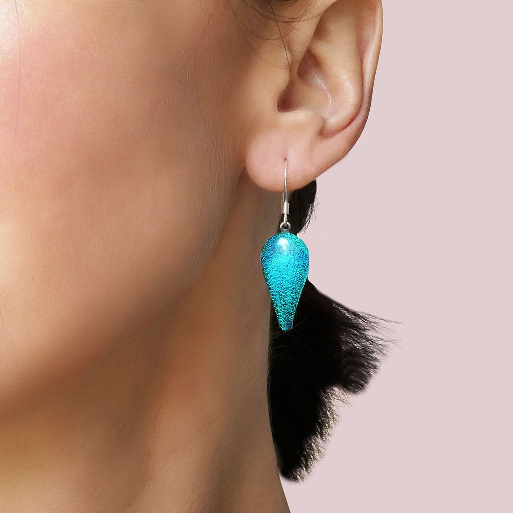 Microcosmoses EARRINGS DROP GLASS REFLET EARRINGS VERT DE BLEU ~ TEAL | DROP | SILVER 925 | REFLET