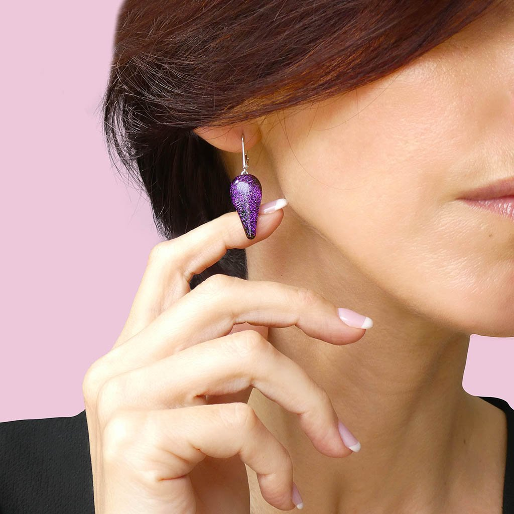 Microcosmoses EARRINGS DROP GLASS REFLET EARRINGS VIOLET ~ EMERALD | DROP | SILVER 925 | REFLET