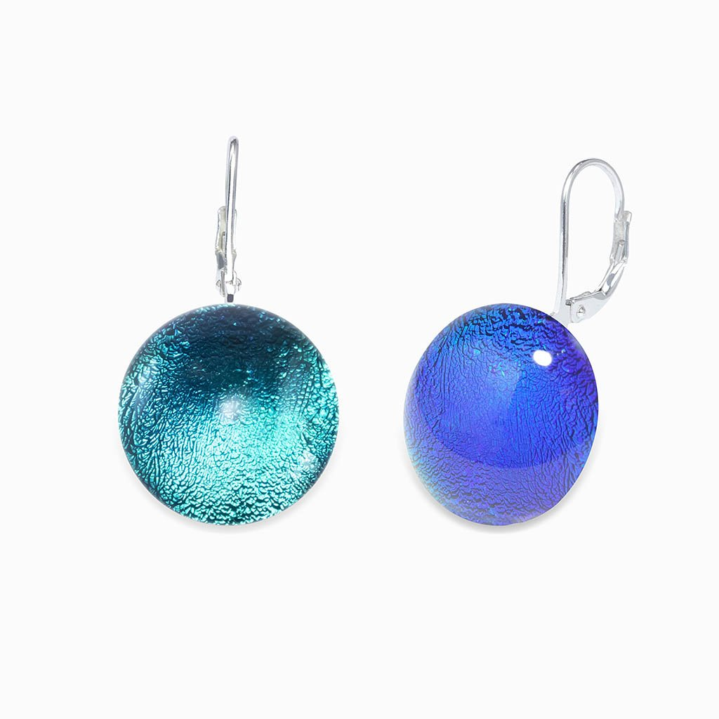 Microcosmoses EARRINGS GLASS REFLET EARRINGS EMERAUDE ~ IRIS BLUE | ECLIPSE | SILVER 925 | REFLET