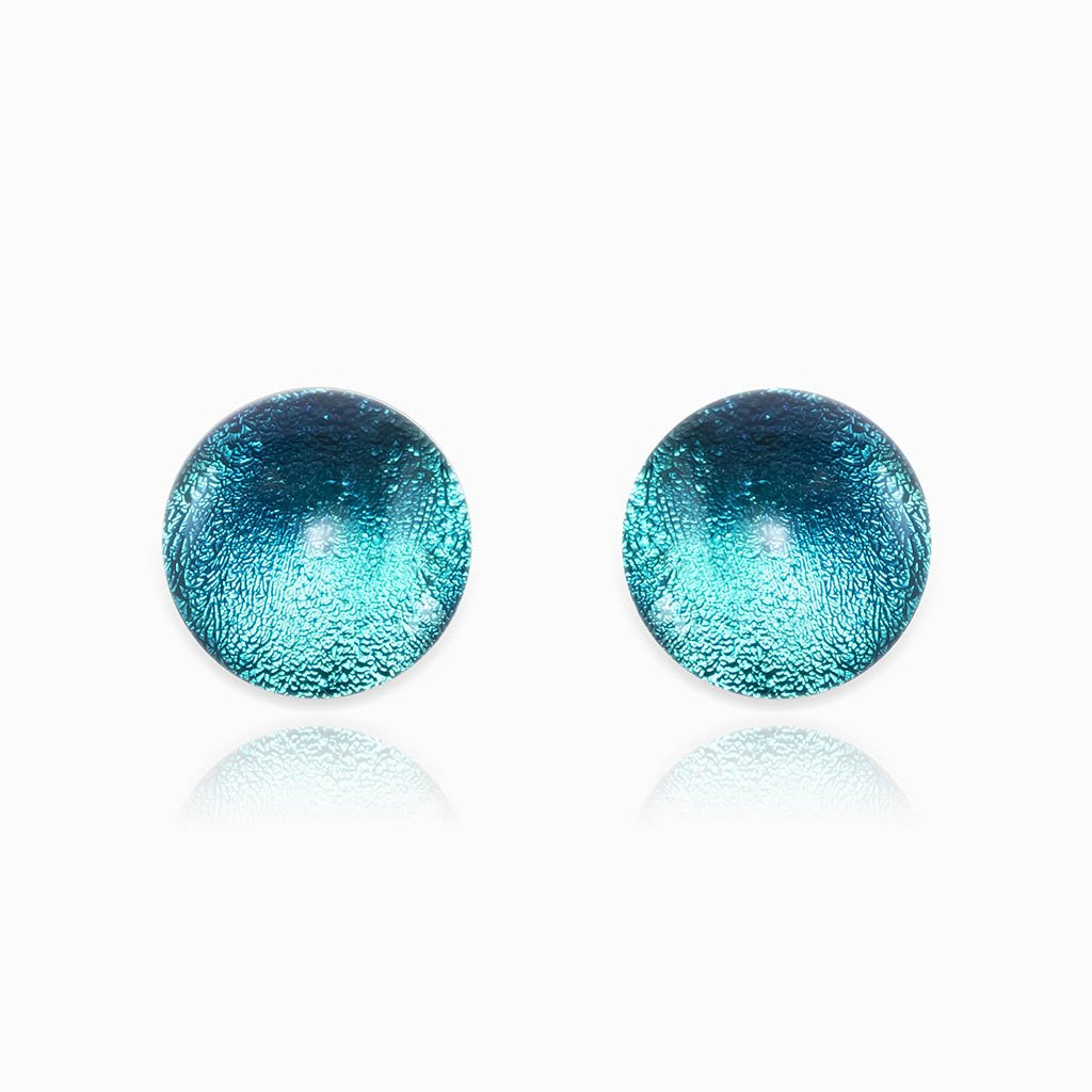Microcosmoses EARRINGS GLASS REFLET EARRINGS EMERAUDE ~ IRIS BLUE | ECLIPSE | STUD | REFLET