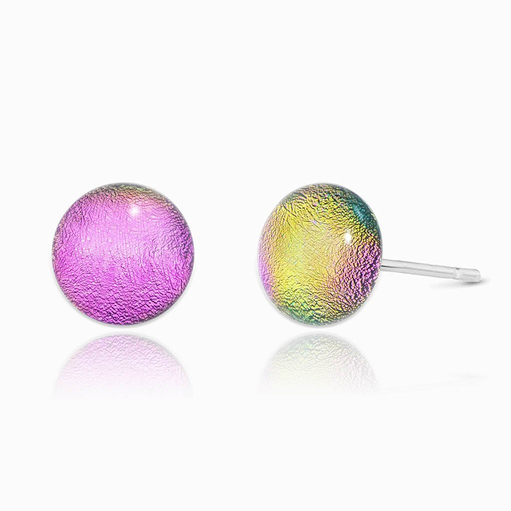 Microcosmoses EARRINGS GLASS REFLET EARRINGS FRENCH PINK ~ GOLD | ECLIPSE | STUD | REFLET