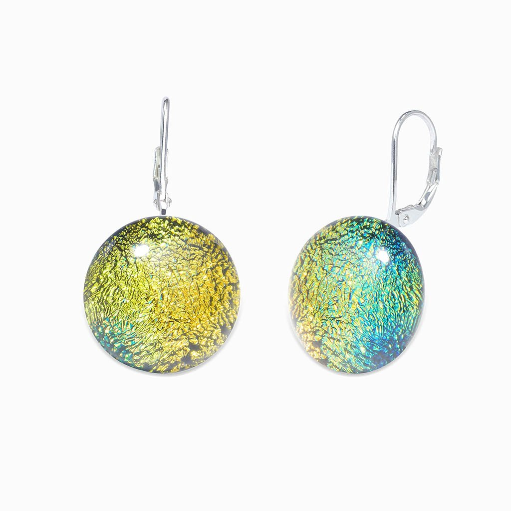 Microcosmoses EARRINGS GLASS REFLET EARRINGS GOLD ~ GREEN BOKEH | ECLIPSE | SILVER 925 | REFLET